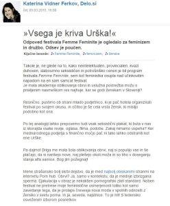 Ferkov Urška feminizem