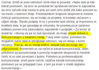 Cormac Smith sporočilo MOM izjava mediji primerjava Fištravec