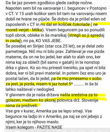 begunci hrana Slovenci nimajo za jesti