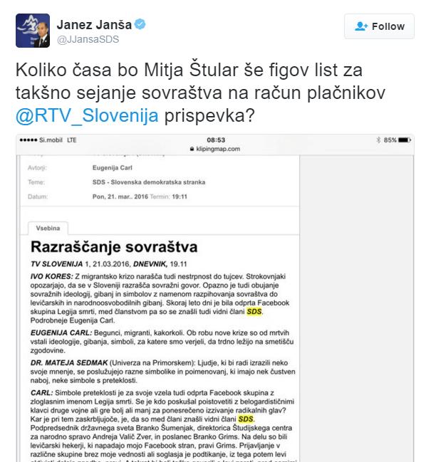 Janša prostitucija tvit Štular