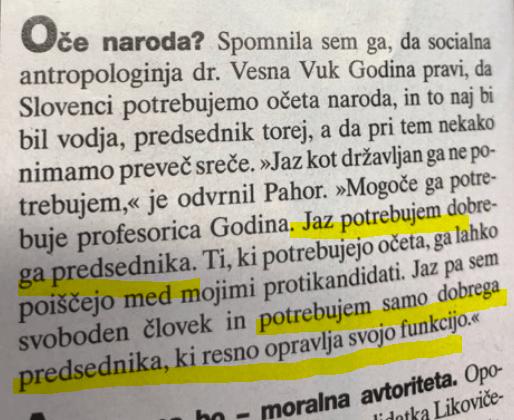 Pahor potrebuje dobrega predsednika