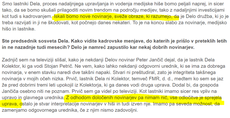 Petrič intervju Delo