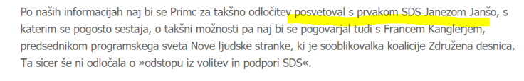 Primc posvetoval Janša odstop