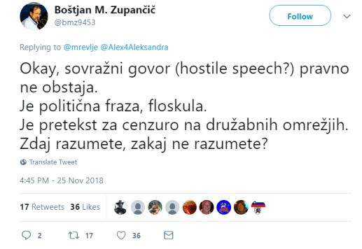 BMZ sovražni govor ne obstaja tvit
