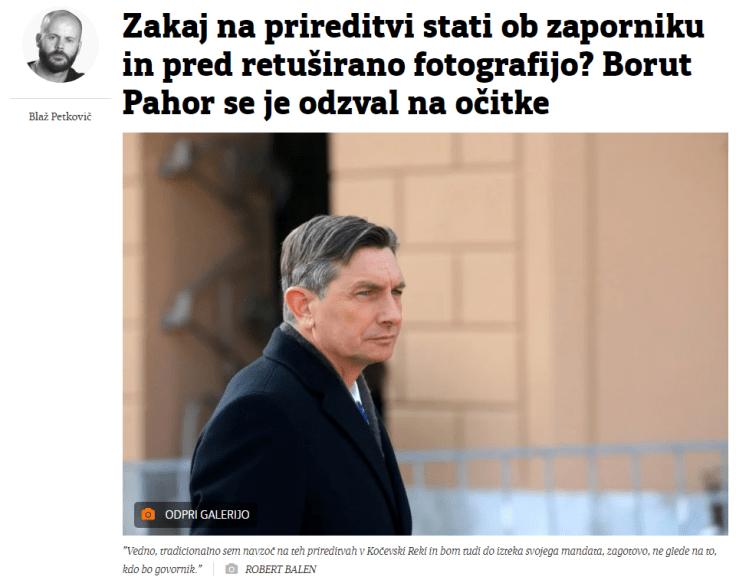 Petkovič Večer Pahor vprašanja retuša