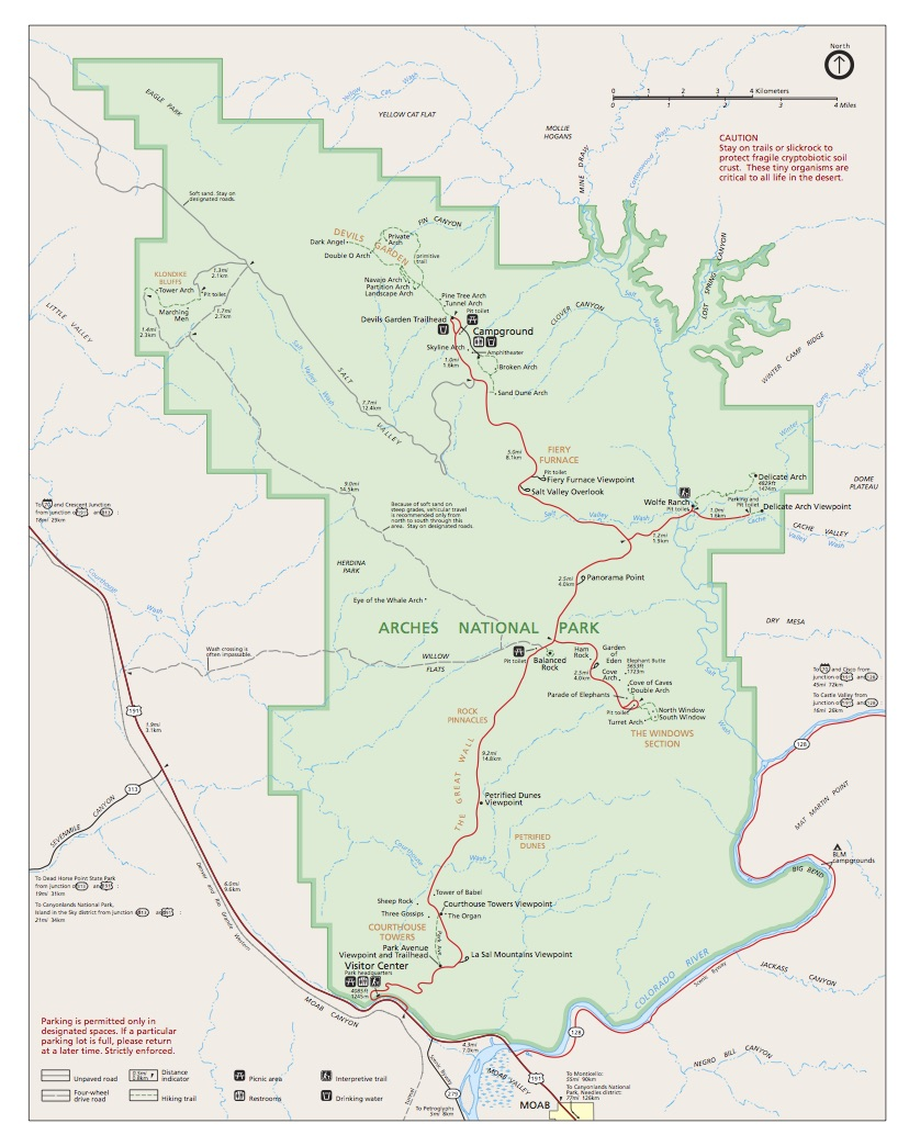 Arches National Park Official Map from NPS, Moab, UT