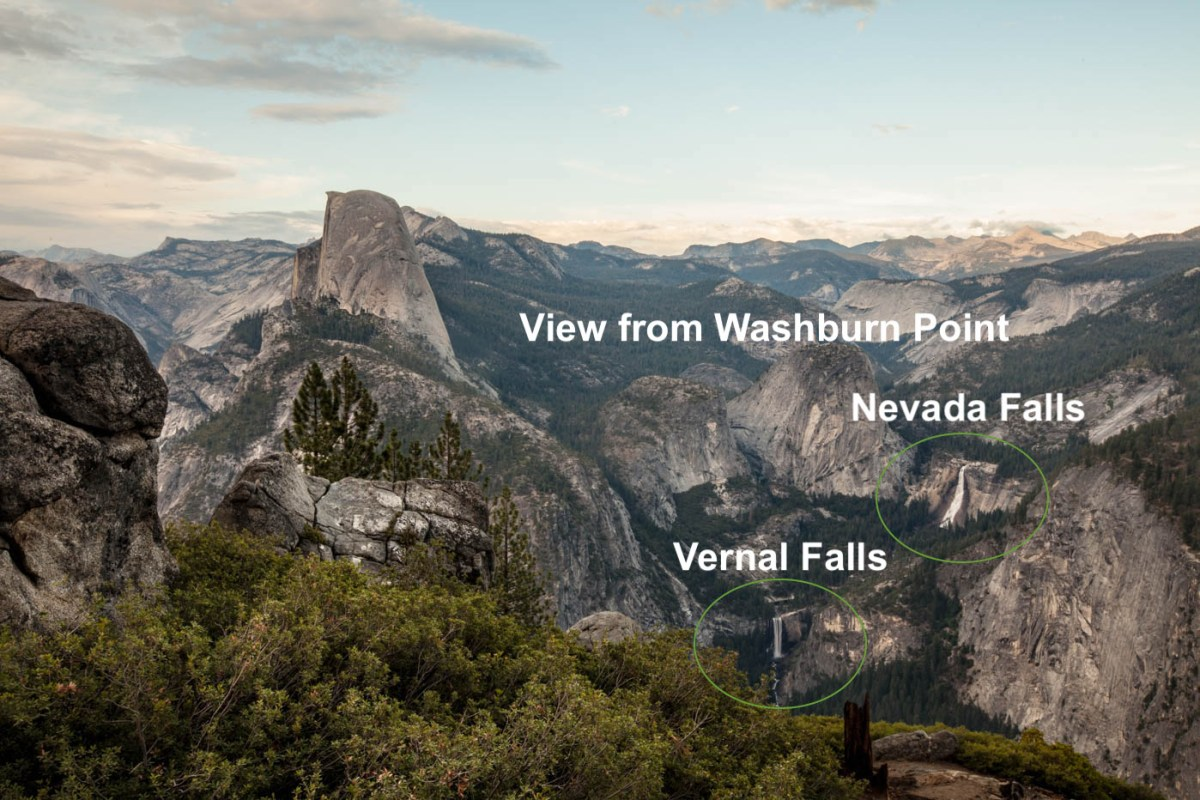 View of the Mist Trail, Vernal, and Nevada Falls from Washburn Point in Yosemite National Park - Best Photo Spots Yosemite National Park #vezzaniphotography