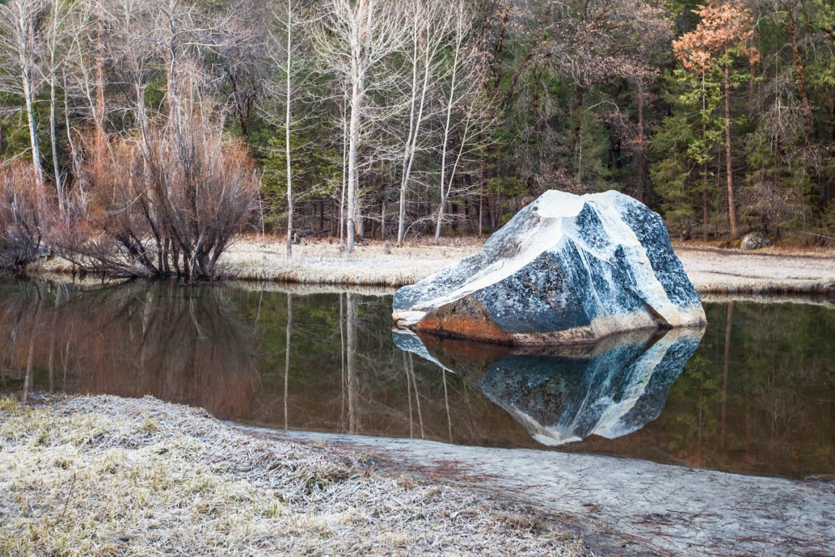 Reflection of Giant Boulder in Mirror Lake at Yosemite National Park #vezzaniphotography