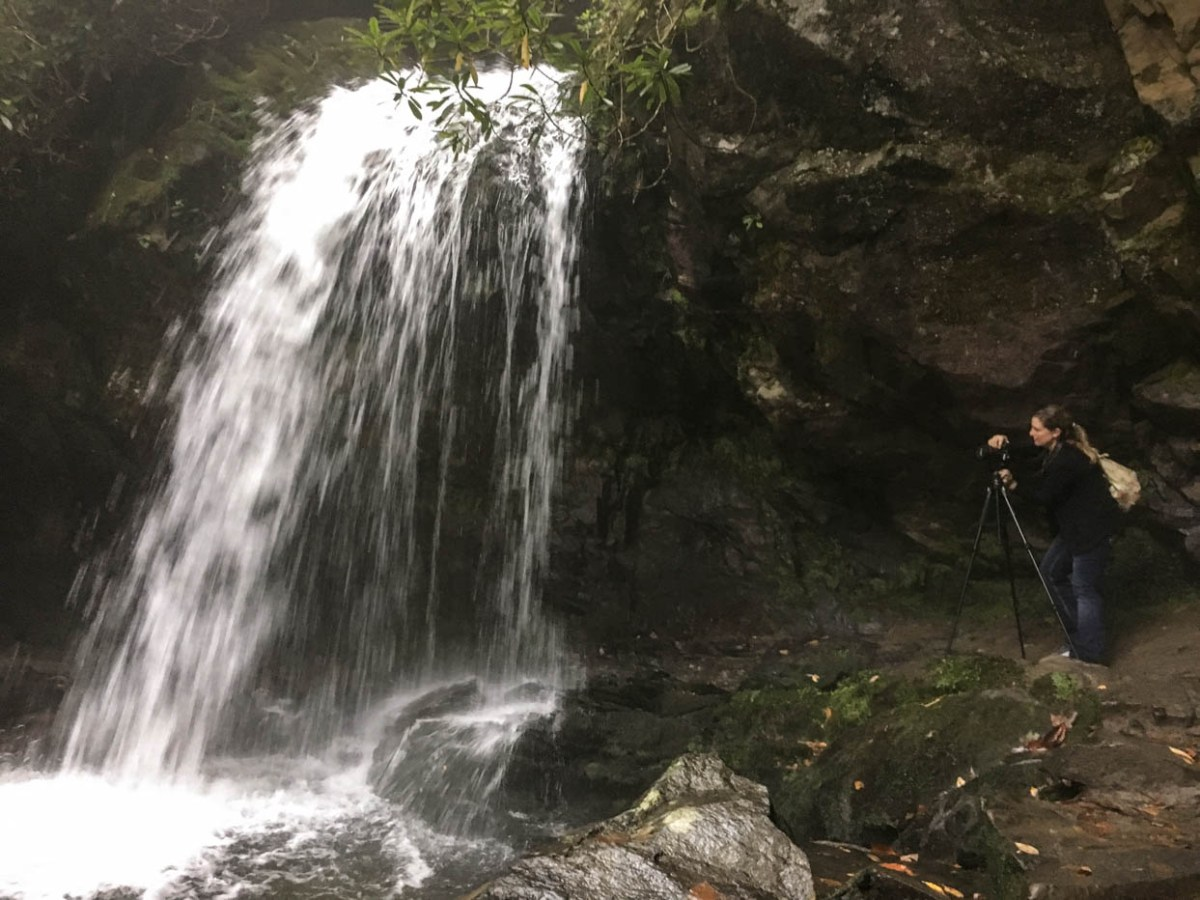 Photographing Grotto Falls off of the Roaring Fork Motor Nature Trail at Great Smoky Mountains National Park #vezzaniphotography