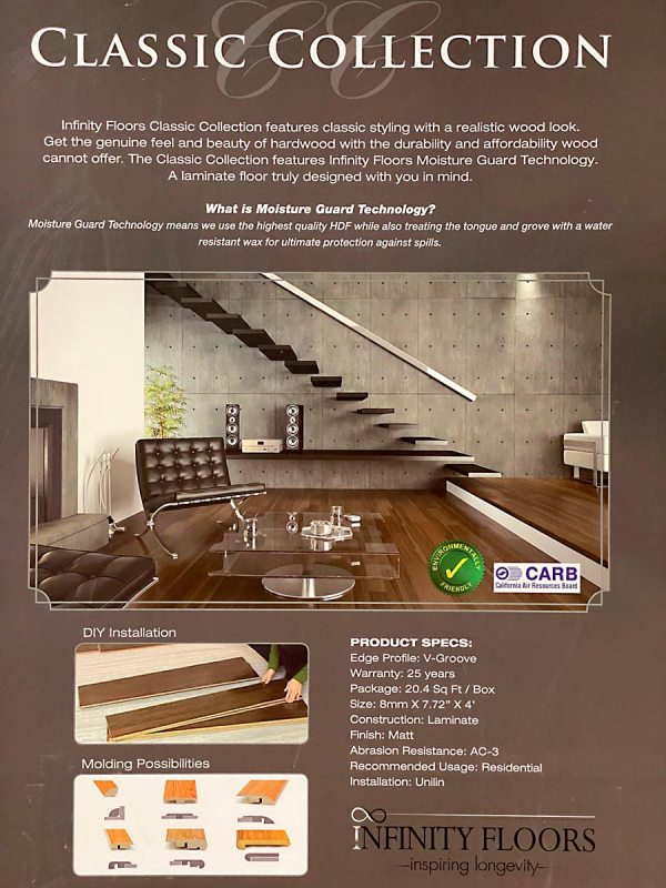 Infinity Floors, Classic Collection, Laminate Flooring in Pearl Color