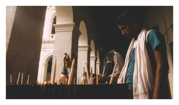 Offering prayers at the Basilica.