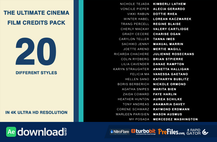 20 cinema film credits pack videohive project free. Black Bedroom Furniture Sets. Home Design Ideas