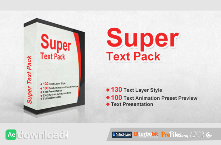 aep templates free download - super text pack after effects preset videohive free