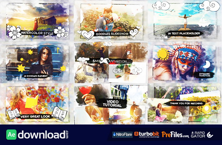 Watercolor & Doodles SlideShow Free Download After Effects Templates