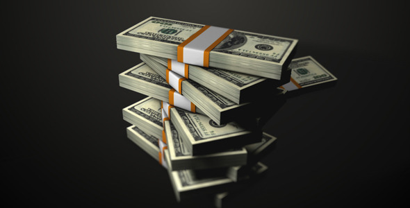 STACKED DOLLARS FALLING - MOTION GRAPHIC (VIDEOHIVE ...