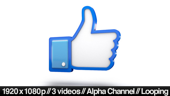 VIDEOHIVE FACEBOOK 3D THUMBS UP LIKE ICON - MOTION GRAPHIC ...