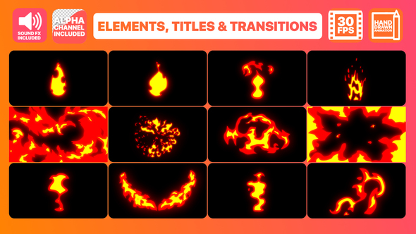 VIDEOHIVE FIRE ELEMENTS TITLES AND TRANSITIONS