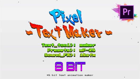 VIDEOHIVE ARCADE TEXT MAKER 8BIT GLITCH TITLES FOR PREMIERE