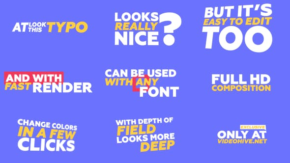 VIDEOHIVE KINETIC TYPOGRAPHY & TRANTISIONS PACK