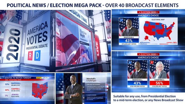 VIDEOHIVE BROADCAST – POLITICAL NEWS / ELECTION MEGA PACK