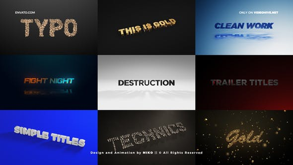 VIDEOHIVE TITLES – UNIQUE ELEMENT 3D SCENES