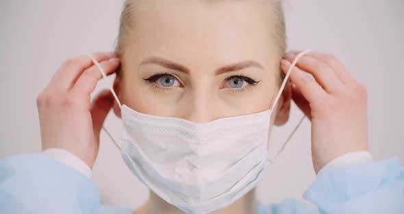 Woman Wearing Protective Mask Coronavirus Covid-19