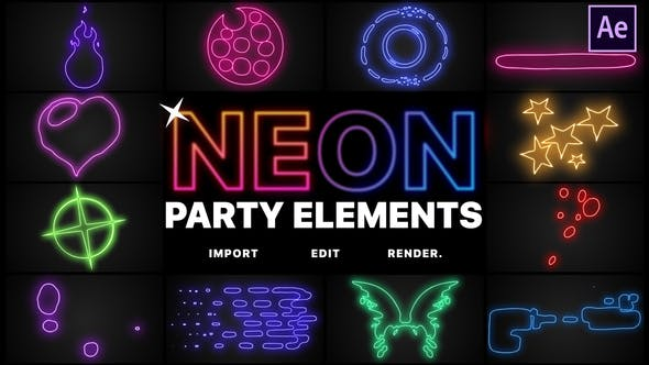 Neon Party Elements