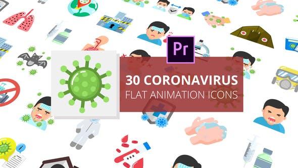 Coronavirus Flat Animation Icons Premiere Pro