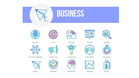 Business – Filled Outline Animated Icons