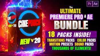 CINEPUNCH (BUNDLE) - Premiere Pro Transitions I Color LUTs I SFX - 18 PACKS - 9999+ Assets