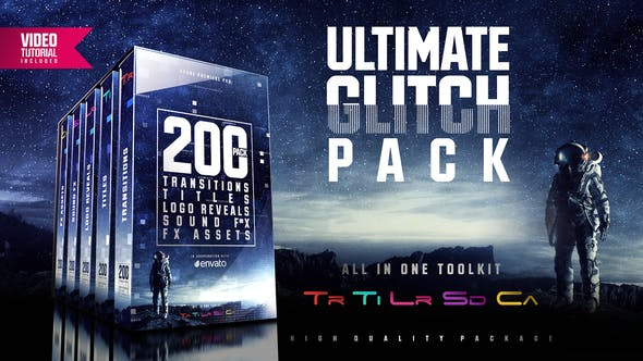 Ultimate Glitch Pack: Transitions, Titles, Logo Reveals, Sound FX