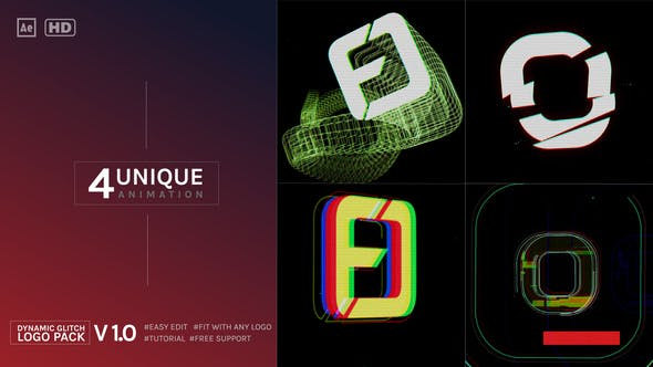 Dynamic Glitch Logo Pack