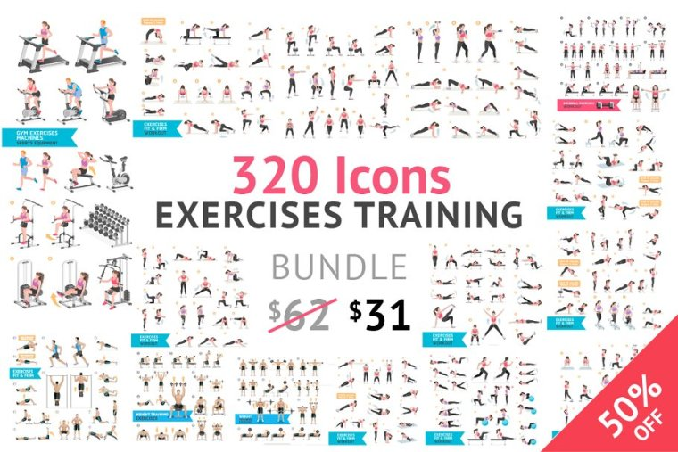 CreativeMarket Fitness Aerobic and Exercises Icons 1063017