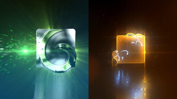 Glowing Glitchy Logo Reveal