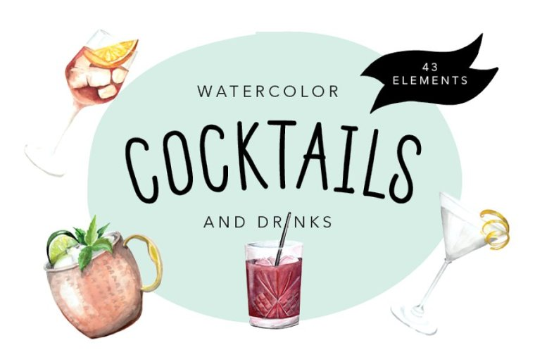 CreativeMarket Watercolor Cocktails and Drinks Set