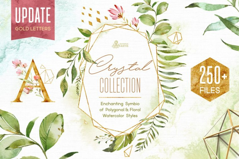 CreativeMarket Crystal Floral & Polygonal Bundle