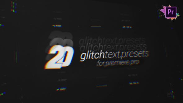 20 Glitch Text Presets Pack For Premiere Pro MOGRT