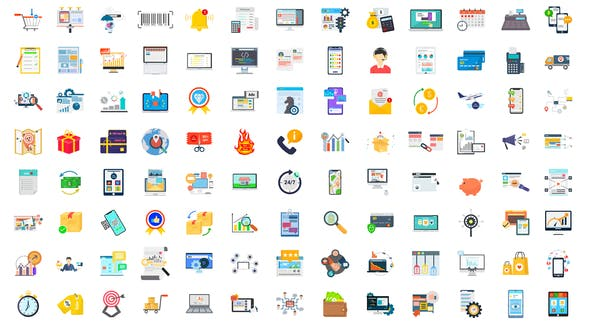 100 Digital Marketing & E-Commerce Icons