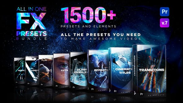 Presets Pack for Premiere Pro: Effects, Transitions, Titles, LUTS, Duotones, Sounds