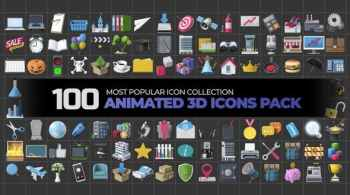 100 Animated 3D Icons Pack