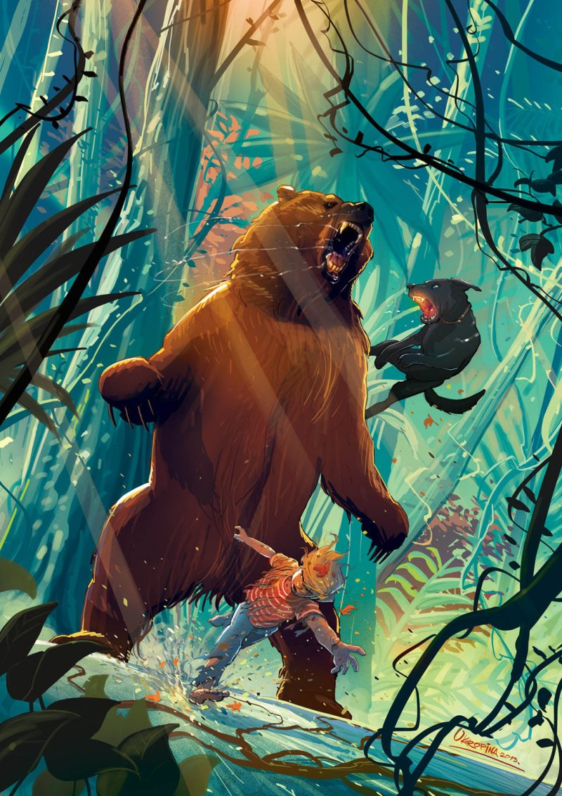 malcolm_and_ramses_vs_bear_by_jovan_ukropina-d62qgro