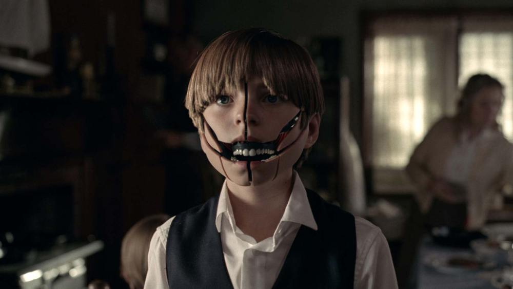 Oliver Bell plays the Little Boy, actually a host with an older-style exoskeleton similar to that of Delores' that is revealed in these shots. (Photo credit: HBO)