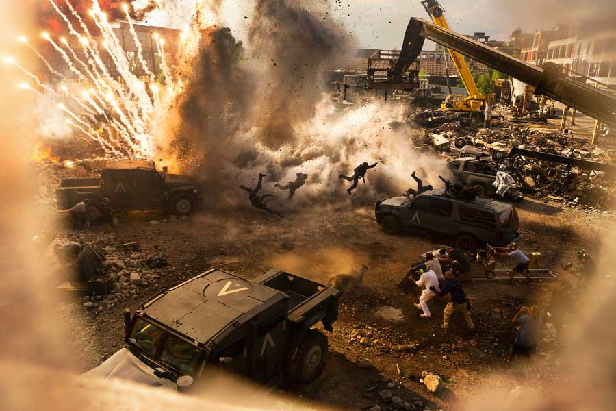 Michael Bay and crew during filming of Transformers: The Last Knight.