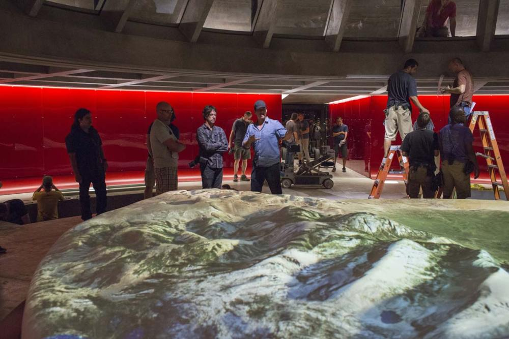 A sculpted surface representing Westworld. Live projections were the means by which the control room map was brought to life. (Photo credit: HBO)