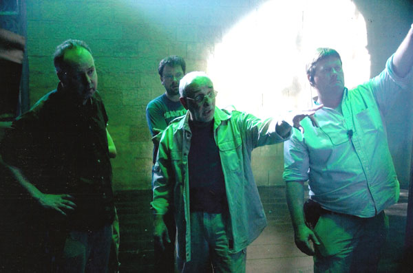 Richardson discussing a Potter shot with, left to right: David Yates, Tim Burke, John Richardson, Ricky Farns.