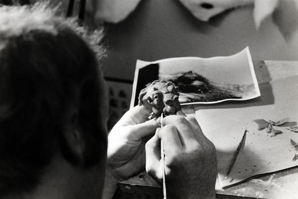 "Phil Tippett, VES sculpts a Tauntaun head for The Empire Strikes Back. ""Early on,"" he says, ""George was playing with different ideas for what the Tauntaun could be. It could have been a guy made up in an outfit. I was asked to submit a bunch of designs and I drew a bunch of drawings. George picked one and I made a clay maquette and George looked at that and that's what ended up in the movie."""