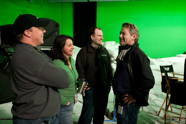 From left: Craig Kyle, Executive Producer; Victoria Alonso, Executive Producer; Kevin Feige, Executive Producer; and Director Kenneth Branagh on the set of Thor (2010). (Photo credit: Zade Rosenthal. TM & © 2010. Marvel Studios. All Rights Reserved.)