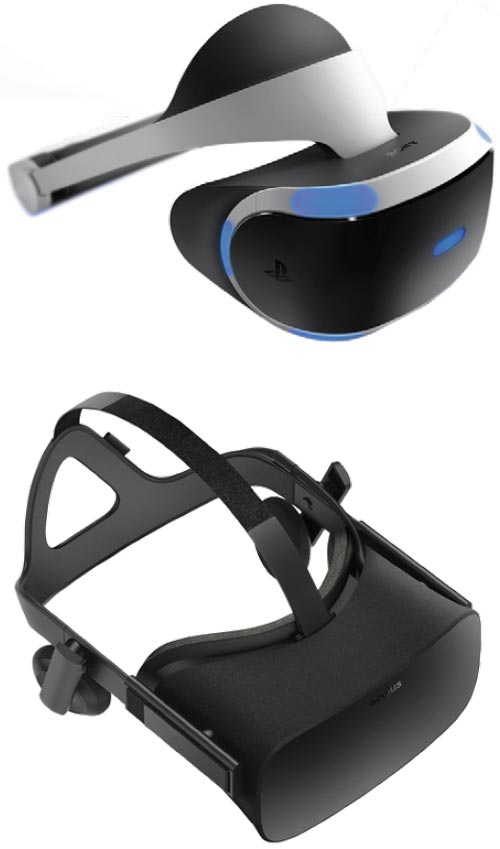 TOP: Sony Playstation VR Headset. CENTER: Oculus Rift 3 VR Headset