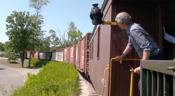 riding on a caboose
