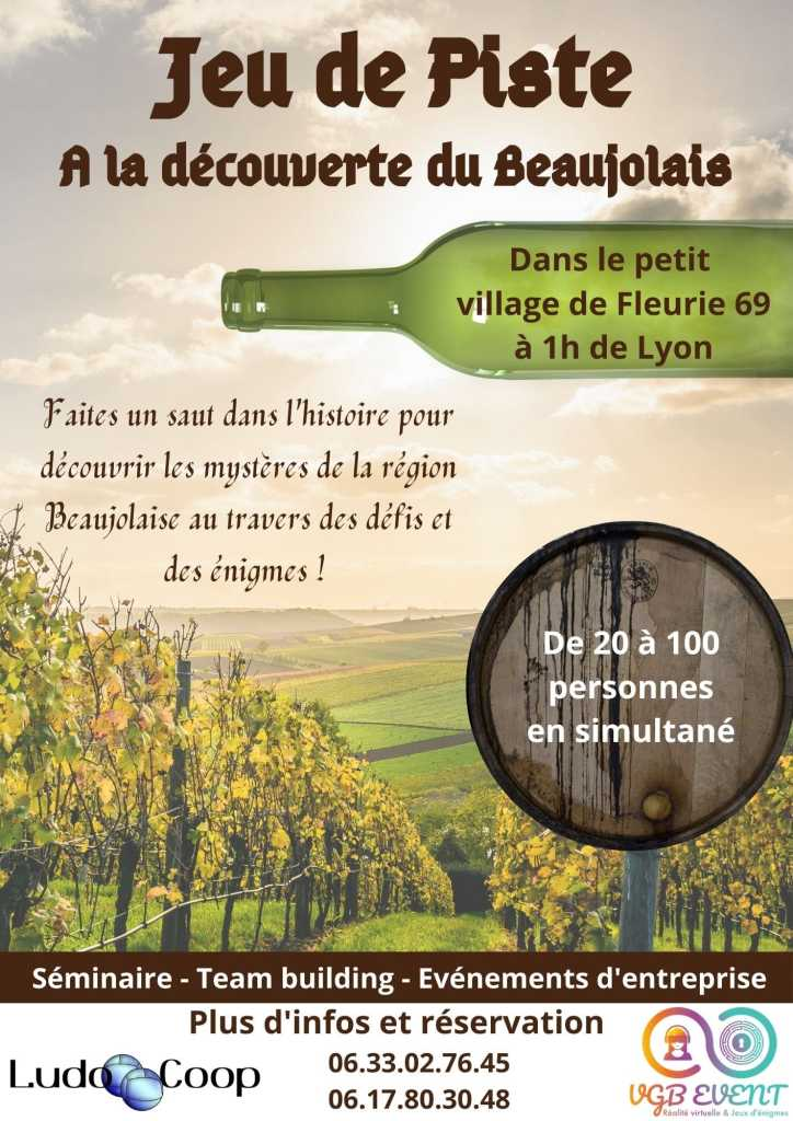Jeu de piste à la découverte du Beaujolais Fleurie vgb event ludo coop camping grappe fleurie
